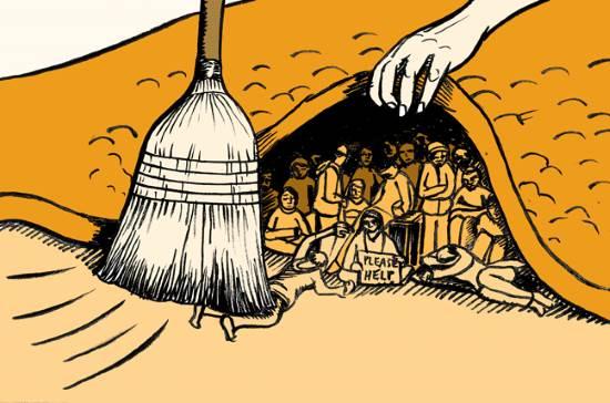 иллюстрация идиомы to brush things under the carpet